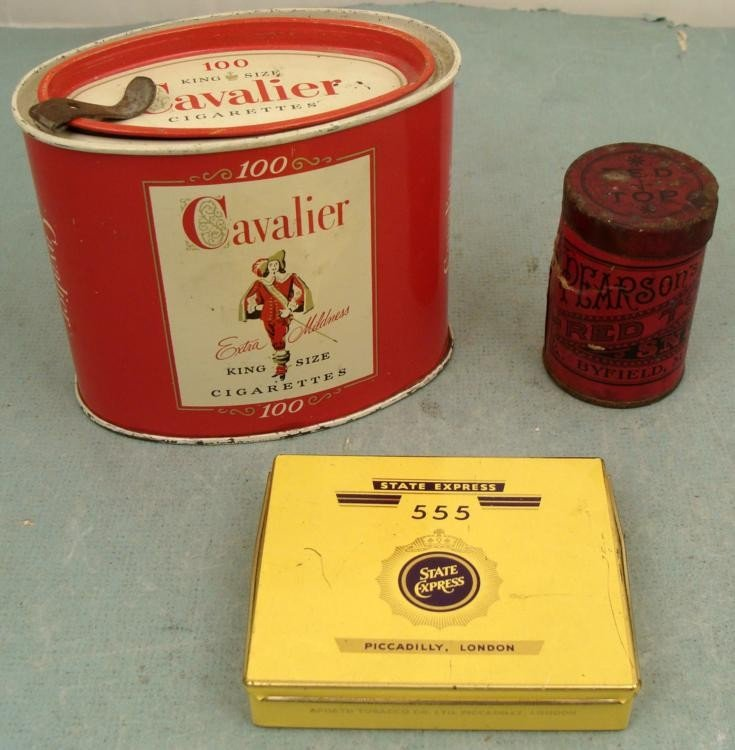 3 Vintage Cigarettes, Snuff Tins Cavalier, Red Top, TWA