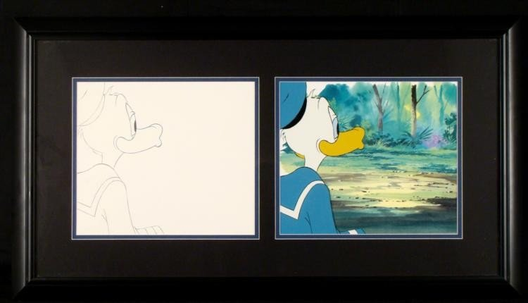 Animation Drawing Orig Cel Donald Duck Framed Intrigued