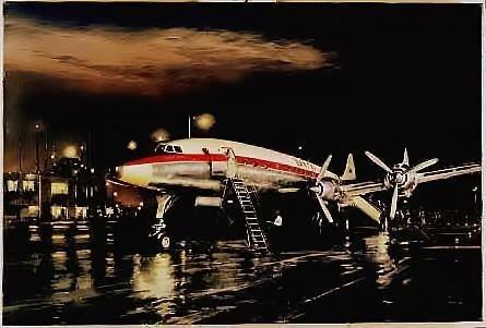 Aviation Art Night Departure Young Qantas Constellation