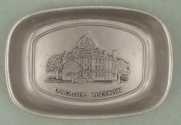 Lancaster Wisconsin Souvenir Metal Tray Grant Co.