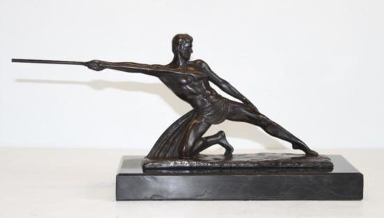 Radiant Nude Male Warrior with Spear Bronze Sculpture