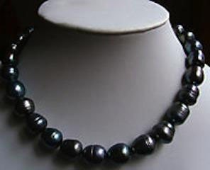 STUNNING 9-10MM Tahitian natural black pearl necklace 1