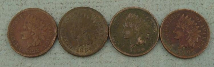 4 Diff Early Date Better Grade Indian Cents 1882-1905