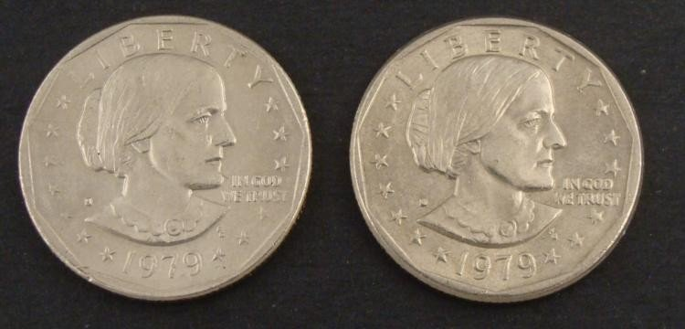 (2) 1979 Susan B. Anthony Filled S & D Error Coins