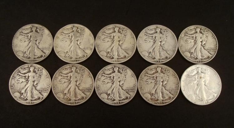 10 Dif S Date Walking Liberty Silver Half Dollars