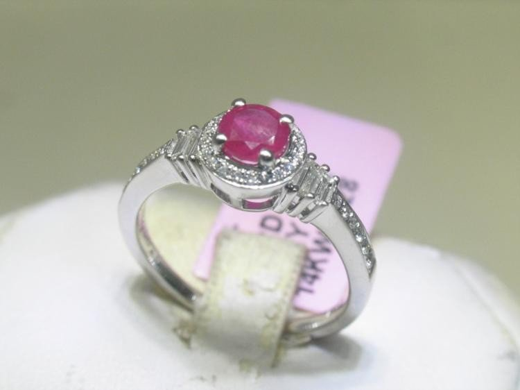 .25 CT Diamonds and Ruby 14K White Gold Ring Size 6 3/4