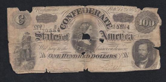 MWF912C 1864 Confederate $100 Note Richmond Number 20