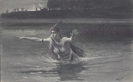 ORIGINAL Antique PRINT scene- WEETAMOO SWIMMING THE MA