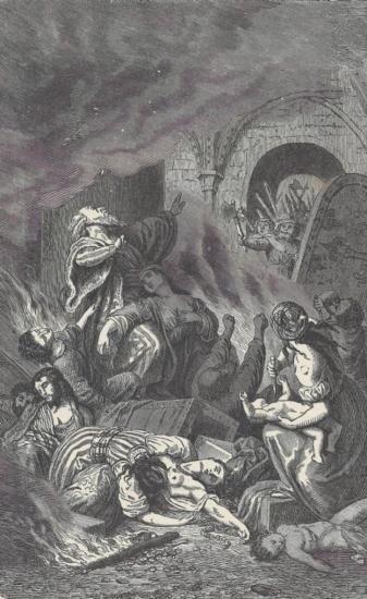 ORIGINAL Antique PRINT scene-DEATH OF THE RABBI AND TH