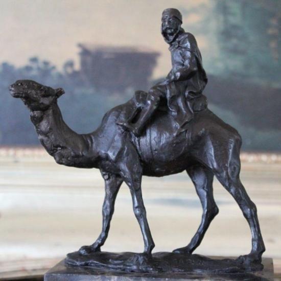 Excellent Camel & Rider Bronze Sculpture After L. Car