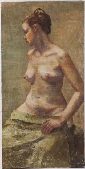 Oil on canvas nude. Inscribed ~Claire S~ verso.