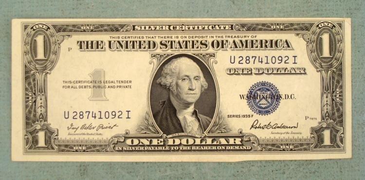 1935 F Series $1 Silver Certificate -Error