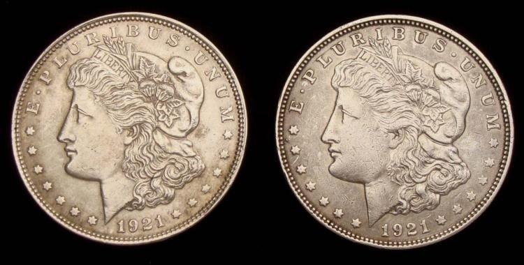 1921- & 1921-D Morgan Silver Dollars (2)