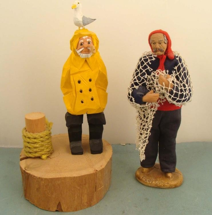 2 Vintage Hand-Made Carved Fisherman Figurines, Dolls