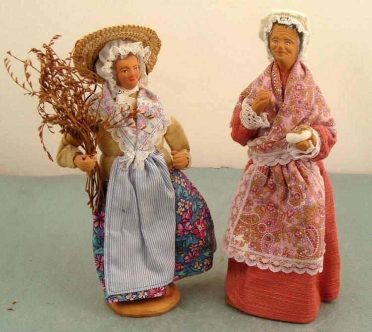 2 Vintage French Costume Dolls Old Women France