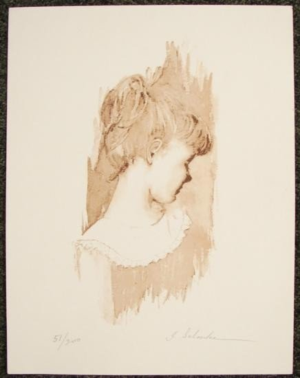 LE Signed Vintage Art Print YOUNG GIRL