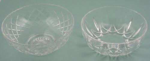 2 Crystal Glass Serving Bowls Dishes