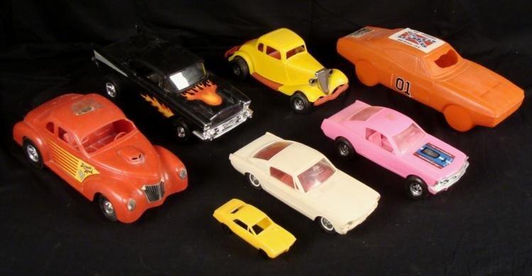 7 Vintage Plastic Cars General Lee, Tootsie Toy USA