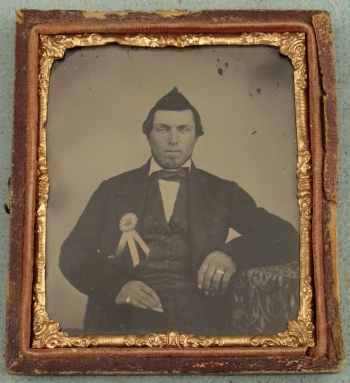 Antique Tintype Photo Man with Ribbon Prize Political?