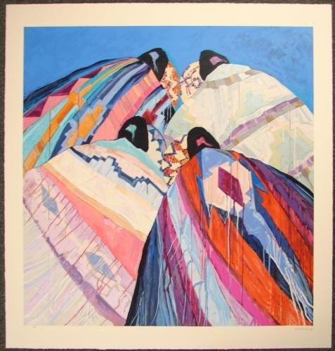 Southwest Art Roberts BRIGHT BLANKETS Print Beige Paper