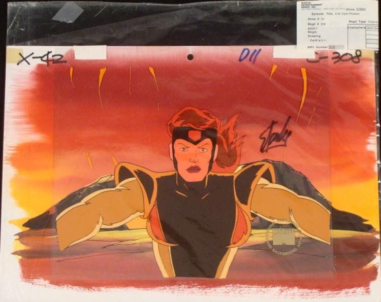 Original Animation Cel Stan Lee Background Singed X-Men