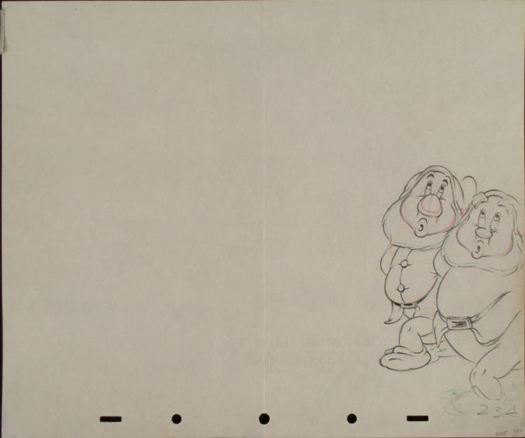 Disney Snow White 7 Dwarfs Original Production Drawing