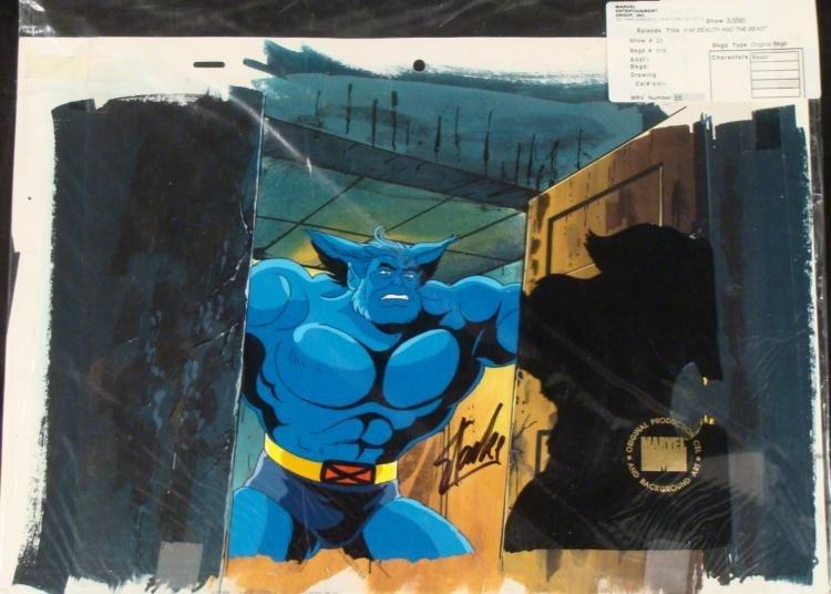 Original Background X-Men Signed Cel Animation Stan Lee