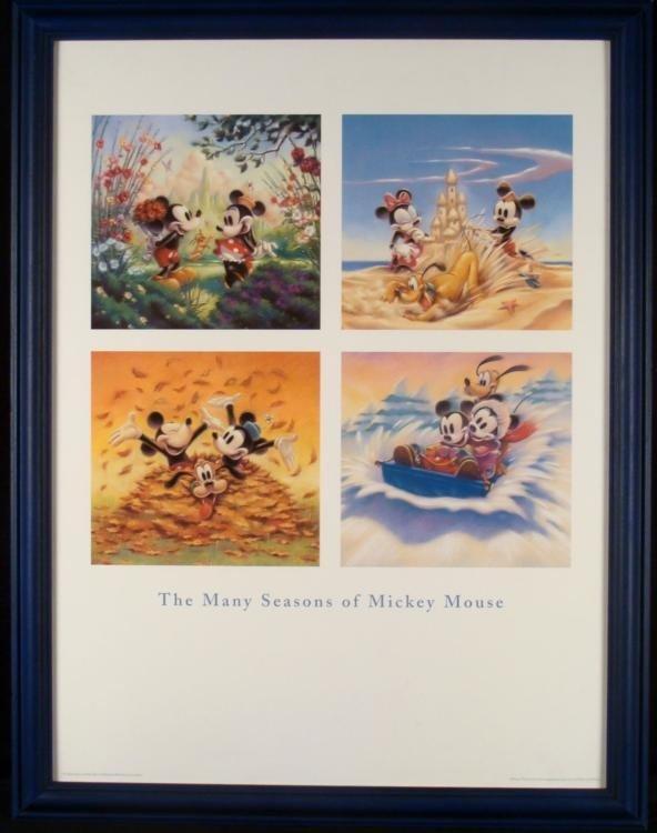 Many Seasons of Mickey Mouse Framed Disney Poster