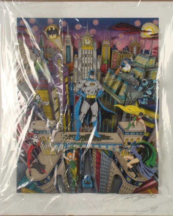 Batman 3-D Ltd Ed Signed Comic Art Print Fazzino