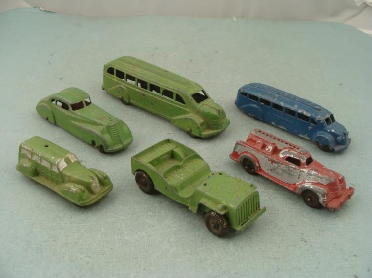 6 VINTAGE TOY CAST/RUBB VEHICLES-SUN,TOOTSIETOY,MANOIL