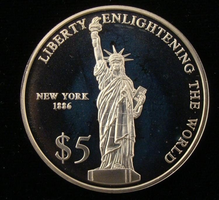 Liberty Enlightening World Liberia $5 Proof Coin 2000