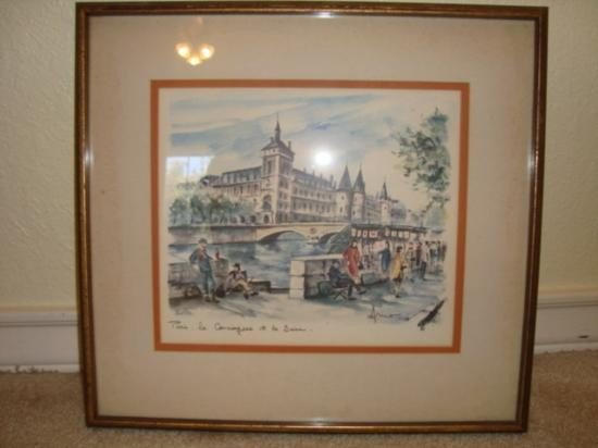French old print of Paris signed Arno