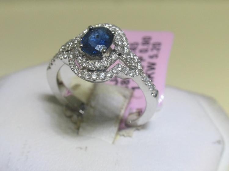 Blue Sapphire and .90 CT Diamonds 14K White Gold Ring