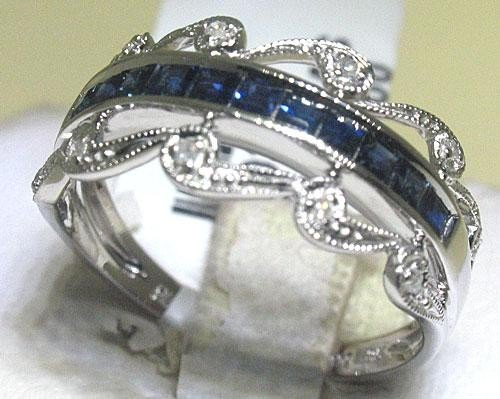 14K White Gold Earrings Blue Sapphire Diamonds Ring Set