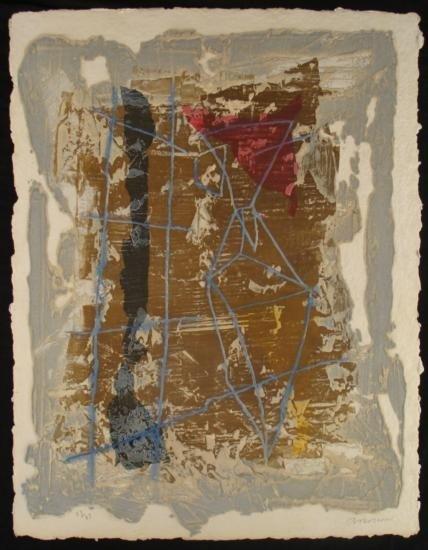 Pierre Brisson Signed Aquatint Sugar Lift Abstract Art
