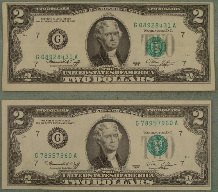 2 1976 G Mint $2 Bills Notes ERRORS -Side Cut, Top Cut