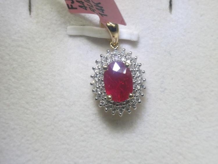 Ruby and .23 Carat Diamonds 14K Yellow Gold Pendant
