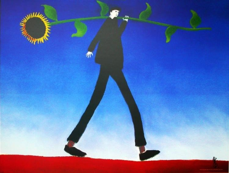 Mackenzie Thorpe 'MAN WITH SUNFLOWER' Lithograph