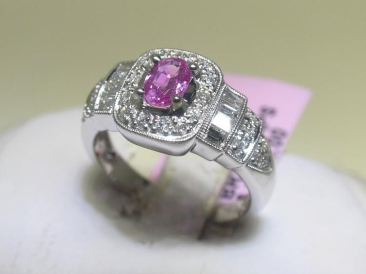 Pink Sapphire and Diamonds 14K White Gold Ring Size 7