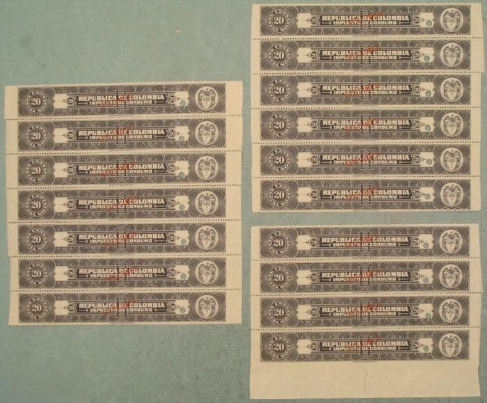 17 Colombia Plate Block Specimen Tax Stamps 20 Centavos