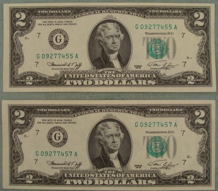 2 UNC $2 Dollar 1976 Bills Same Series G Mint Chicago