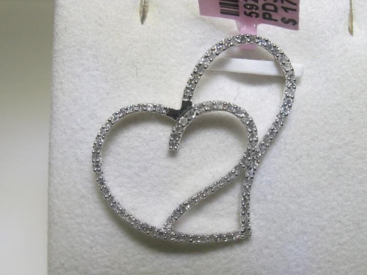 All Diamonds 14K White Gold Heart Design Pendant