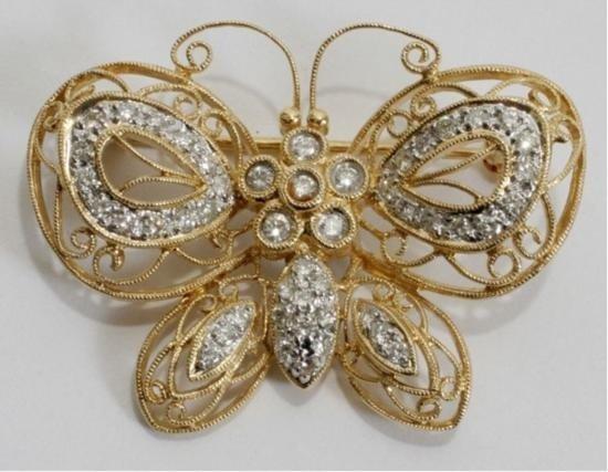 YELLOW GOLD FILIGREE & DIAMOND BUTTERFLY PIN