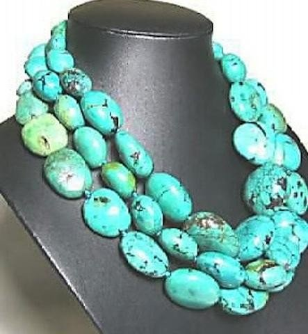 GORGEOUS Blue Turquoise Beads Necklace 48~Long MWF1058