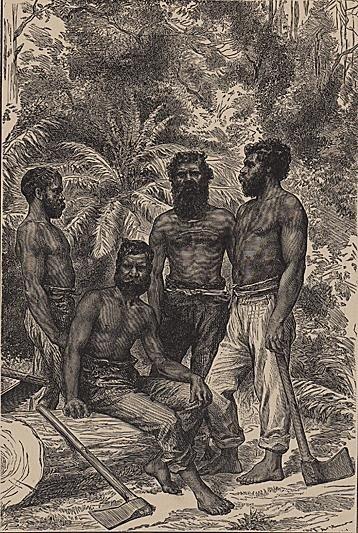 ORIGINAL Antique PRINT scene- AUSTRALIAN NATIVES AT AB