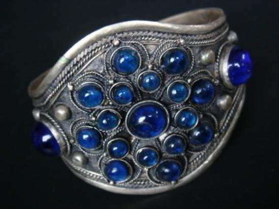 GORGEOUS Tibetan silver & Blue gemstone Bangle Bracelet