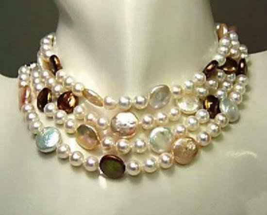 MWF992C Genuine coin pearl necklace