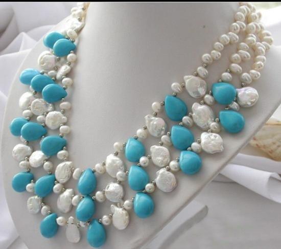MWF980 Three row white rice & coin pearl drip turquoise