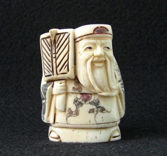 MWF1542O Handcarved Ox Bone Netsuke Figure