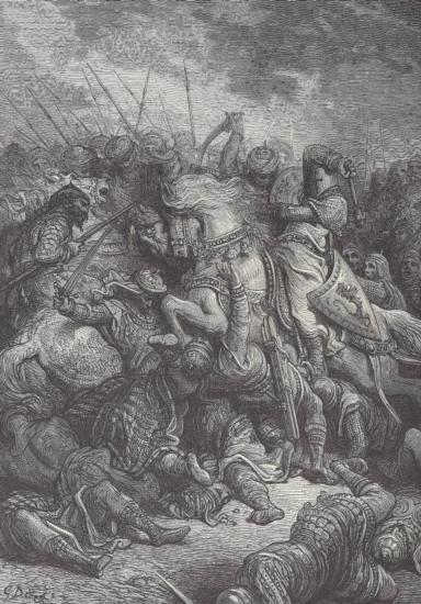 ORIGINAL Antique PRINT scene- COUER DE LION IN THE BAT